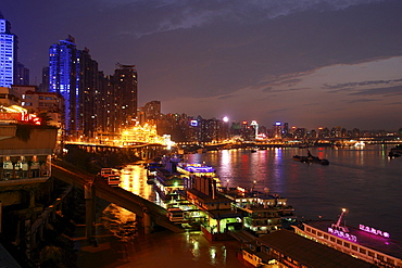 River Cruisers in front of the skyline, Chongqing, China, Asia