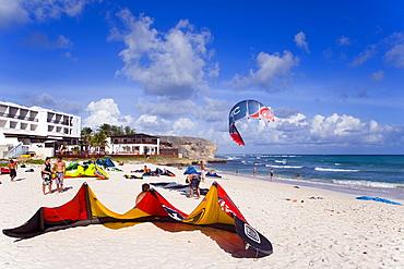 Kite surfers at beach, Barbados, Caribbean