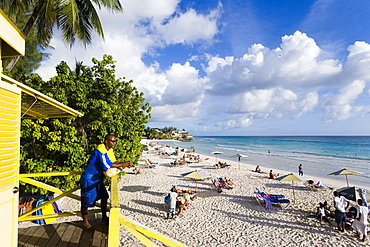 Lifequard observing Accra Beach, Rockley, Barbados, Caribbean