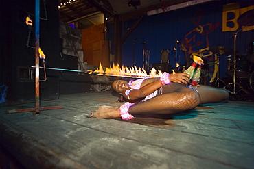 Female limbo dancer, Dinner Show in Harbour Lights Club, Bridgetown, Barbados, Caribbean