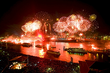 Great fireworks above the ships on the river, Hamburg, Germany