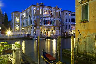 Canal Grande at night with view towards Palazzo Cavalli Franchetti, Venice, Italy, Europe