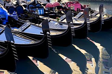 Gondolas at Bacino Orseolo (Servizio Gondole), Venice, Italy, Europe