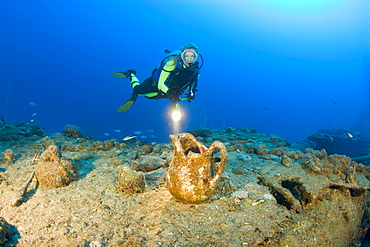 Diver and Artifacts of USS Apogon Submarine, Marshall Islands, Bikini Atoll, Micronesia, Pacific Ocean