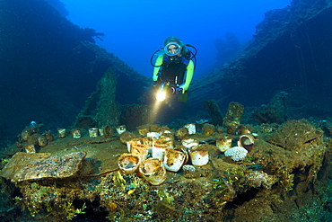 Diver discover Tableware and Artifacts on USS Saratoga, Marshall Islands, Bikini Atoll, Micronesia, Pacific Ocean