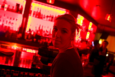 Woman drinking in the Suede Bar, Downtown Los Angeles, California, USA, United States of America