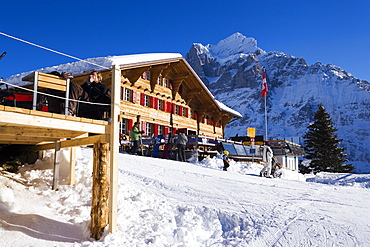 Exterior view of the mountain restaurant Bort, First, Grindelwald, Bernese Oberland, Canton of Bern, Switzerland
