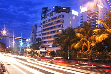 Collins Avenue at night, South Beach, Miami Beach, Florida, USA