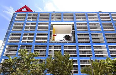 Blue facade of an apartment building, Arquitectonica's Atlantis Condomium, Brickell Avenue, Miami, Florida, USA