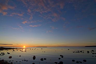 Coastal landscape near Djauvik, Lilla Karlso island, right, and Stora Karlso island, left, in the background, natur reserve, Gotland, Sweden, Scandinavia, Europe