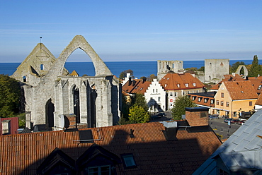 View of Visby with the ruins of St Catherines Church, Gotland, Sweden, Scandinavia, Europe