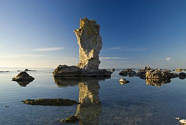 Limestone columns, Raukar, near Lauter, North West Coast, Faro, Gotland, Sweden, Scandinavia, Europe