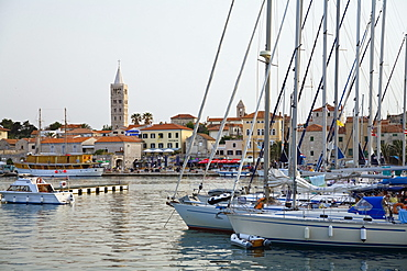 View at sailing boats and Rab harbour in the evening, Rab Island, Croatia, Europe