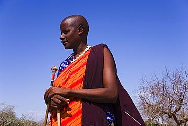Portrait of a male Maasai, Coast, Kenya