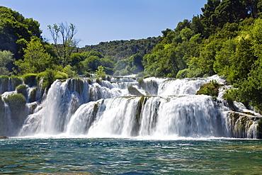Krka waterfalls in teh sunlight, Krka National Park, Dalmatia, Croatia, Europe