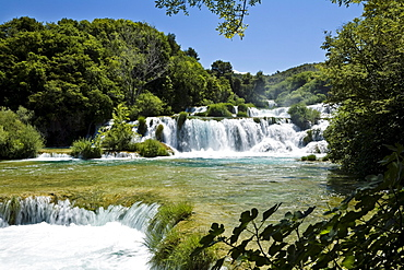 The Krka waterfalls under blue sky, Krka National Park, Dalmatia, Croatia, Europe