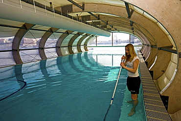 Badeschiff, cleaning the floating swimming pool, Berlin