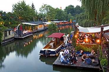 Club der Visionaere, restaurants, cafés, bars at Flutgraben in the evening, canal, Treptow, Berlin, Germany