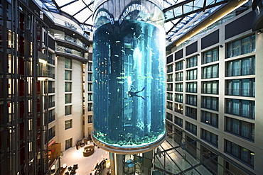 the 5 star Radisson SAS Hotel features the world's largest cylindrical aquarium. entrance to Aqua Dom, a diver cleans the tank, Berlin, Germany