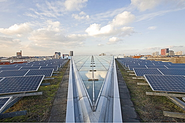 solar panels on the grass roof of the Willy-Brandt Haus headquarters of the SPD Social Democratic party Berlin, Germany