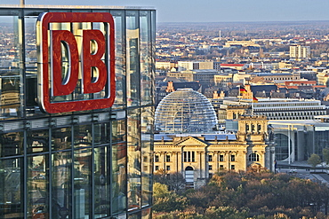 View at DB Tower, Sony Center and Reichstag, Berlin, Germany, Europe