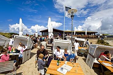 Beach bar with beach chairs, Rantum, Sylt Island, Schleswig-Holstein, Germany