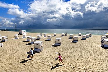 Beach chairs on beach of Hornum, Sylt Island, Schleswig-Holstein, Germany