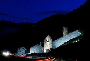 Muehlbacher Klause next to a street at night, Muehlbach, Puster valley, South Tyrol, Italy, Europe