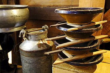 Cheese and butter production, Milk churns and containers, Local history museum in Tschoetscherhof, St. Oswald, Kastelruth, Castelrotto, South Tyrol, Italy