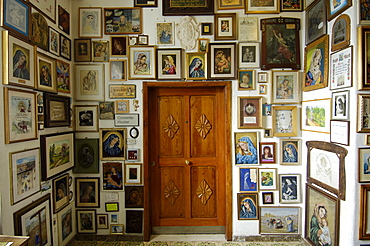 Icons of Holy Mary, Mother of God, Maria Weissenstein pilgrimage church, Petersberg, Deutschnofen, South Tyrol, Italy