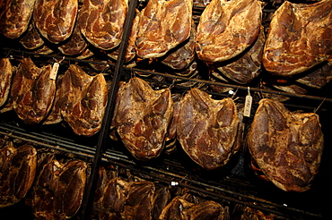 South Tyrolean Ham in the smoke house, South Tyrolean delicacy, Gostner Schwaige, Alp, South Tyrol, Italy