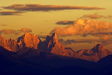 Mountain landscape at sunset, Pala Group, Dolomites, Province Trento, South Tyrol, Italy