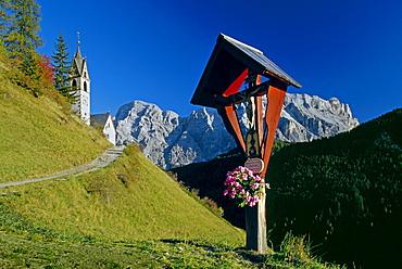 Wayside cross, Santa Barbara, near Wengen, La Val, Val Badia, Dolomite Alps, South Tyrol, Italy