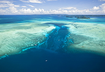 Aerial View of Divespot German Channel, Micronesia, Palau