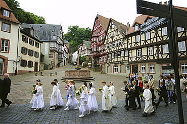 Corpus Christi procession, Miltenberg, Spessart, Lower Franconia, Bavaria, Germany