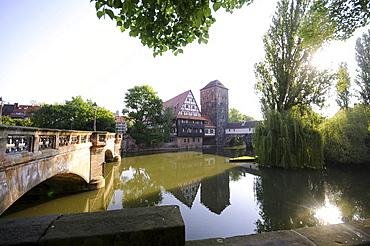Weinstadel at river Pegnitz, Nuremberg, Middle Franconia, Bavaria, Germany