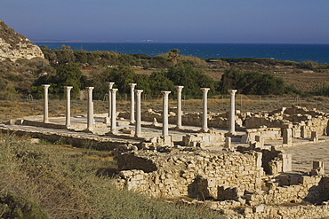 Ruins of a basilica in the Ancient City of Kourion, South Cyprus, Cyprus