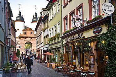 View along Steingasse to Bridge Gate, Heidelberg, Baden-Wurttemberg, Germany
