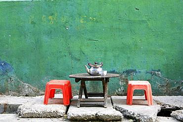 Deserted street cafe, Rangoon, Myanmar, Burma, Asia