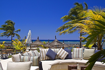 Mauritius, Africa Hotel Bar Lounge otdoors of Veranda Hotel Resort and Spa at Troux aux Biches, Mauritius, Africa