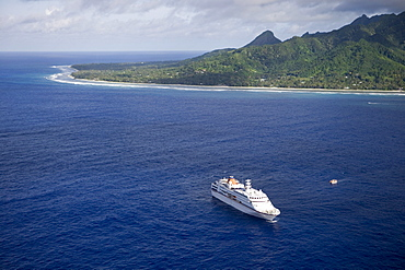 Aerial view of cruiseship MV Columbus off Rarotonga, Cook Islands, South Pacific, Oceania