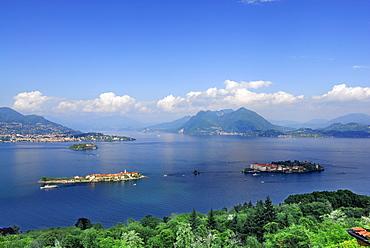 Lake Maggiore with Borromee isles, Isole Borromee, Isola Superiore, Isola Bella and Isola Madre, Stresa, lake Maggiore, Lago Maggiore, Piemont, Italy