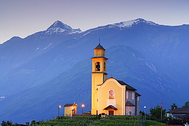 Illuminated San Sebastiano church in UNESCO World Heritage Site Bellinzona, Bellinzona, Ticino, Switzerland