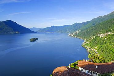 Lake Maggiore with isle of Brissago, Isole di Brissago, Ronco sopra Ascona, lake Maggiore, Lago Maggiore, Ticino, Switzerland