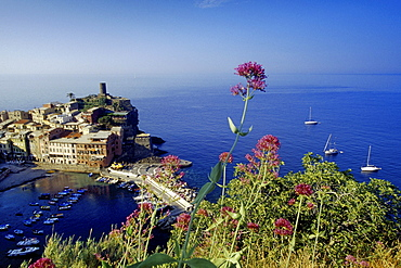 View to Vernazza, Cinque Terre, Liguria, Italian Riviera, Italy, Europe