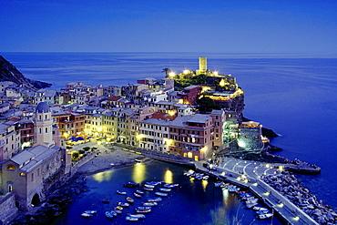 View to Vernazza in the evening, Cinque Terre, Liguria, Italian Riviera, Italy, Europe