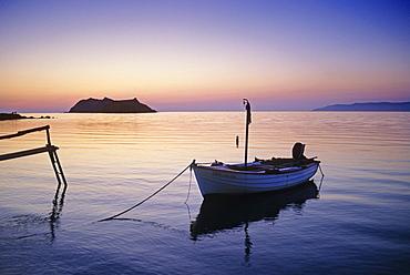 Fishing boat at dusk, Island of Lesbos, Greece, Europe