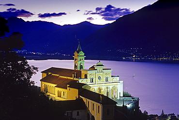 The illuminated church Madonna del Sasso in the evening, Locarno, Lago Maggiore, Ticino, Switzerland, Europe