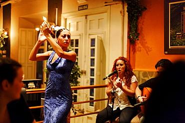 Woman dancing flamenco in the flamenco restaurant Vino Mio, Malaga, Andalusia, Spain