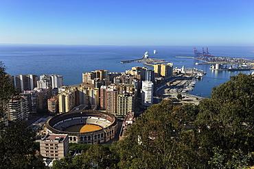 High angle view of Bullring, Malaga, Andalusia, Spain
